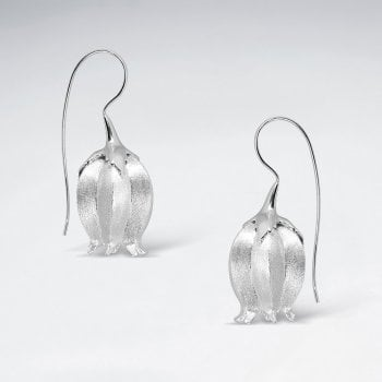 Sterling Silver Flower Hook Earrings