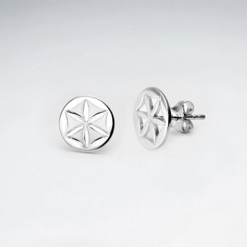 Sterling Silver Flower Inspired Cutout Stud Earrings