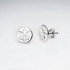 Sterling Silver Flower Inspired Cutout Stud Earrings