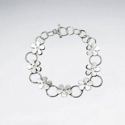 Sterling Silver Flower Link Bracelet