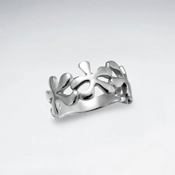 Sterling Silver Flower Link Design Ring