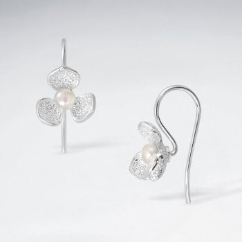 Sterling Silver Flower with Faux Pearl Earrings