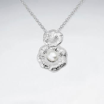 Sterling Silver Flower With pearl Pendant