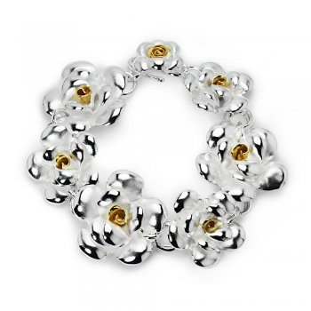 Sterling Silver Flower Wreath Bracelet
