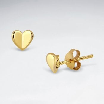 Sterling Silver Folded Heart Stud Earrings