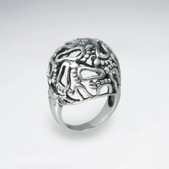 Sterling Silver Footprint Dome Ring