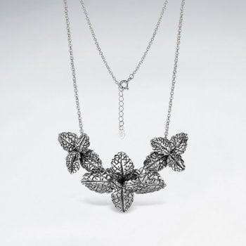 Sterling Silver Four Leaf Cluster Necklace