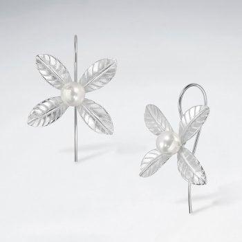 Sterling Silver Four Point Flower Pearl Earrings