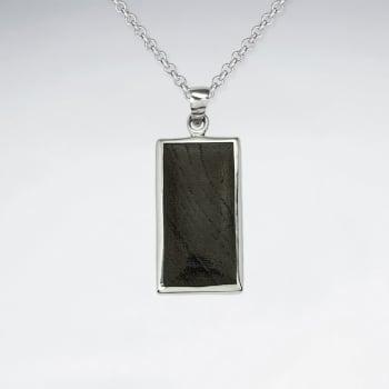 Sterling Silver Framed Rectangle Wood Pendant