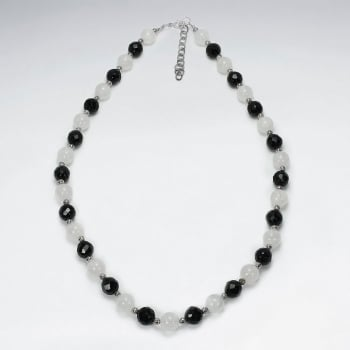 Sterling Silver Full Black Stone & Rose Quartz Beaded Necklace