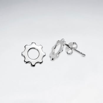 Sterling Silver Gears Stud Earrings