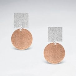 Sterling Silver Geometric Circle and Square Earrings