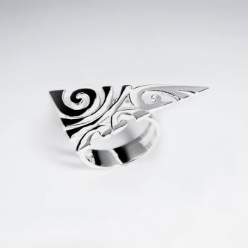 Sterling Silver Geometric Design With Lines And Swirls Cutouts Ring