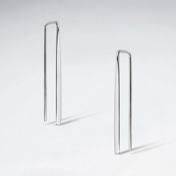 Sterling Silver Geometric Squared Threader Earring