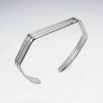 Sterling Silver Geometric Three Tiered Stackable Angular Bangle
