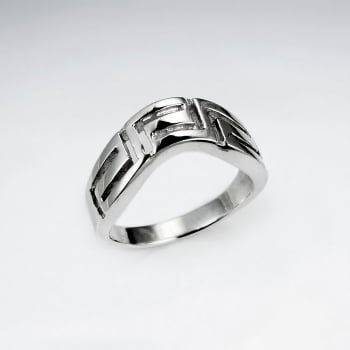 Sterling Silver Geometric Zigzag Line Ring