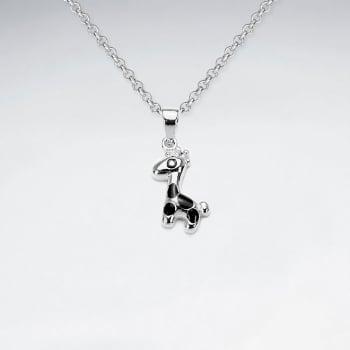 Sterling Silver Giraffe With Enamel Spot Pendant