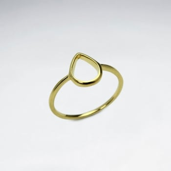 Sterling Silver Gold Tone Openwork Teardrop Ring