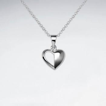 Sterling Silver Half and Half Heart Pendant