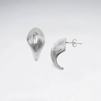 Sterling Silver Half Circle Textured Stud Earrings