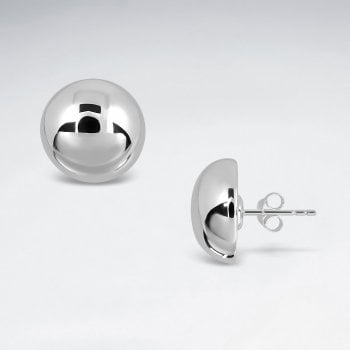 Sterling Silver Half Dome Stud Earrings