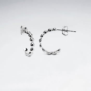 Sterling Silver Half Hoop Chain-Style Earrings