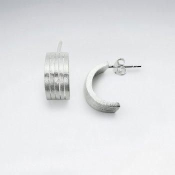 Sterling Silver Half Hoop Huggie Stud Earrings