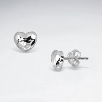 Sterling Silver Hammered Hearts Stud Earrings