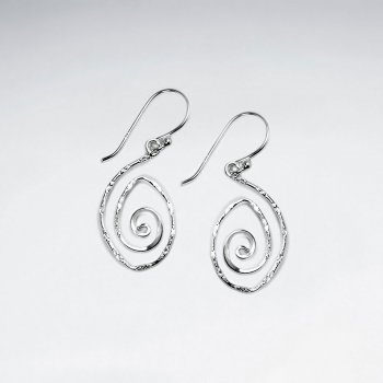Sterling Silver Hammered  Oval Spiral Dangle Earrings