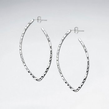 Sterling Silver Hammered Teardrop Openwork Earrings