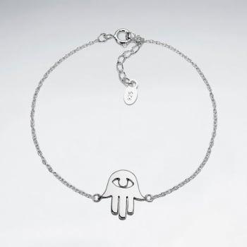 Sterling Silver Hamsa Hand Evil Eye Adjustable Chain Bracelet