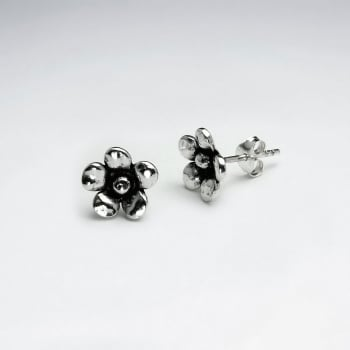 Sterling Silver Handmade Five Petal Flower Earrings