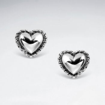 Sterling Silver Heart Earrings with Rope Trim Detail
