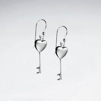 Sterling Silver Heart Key Dangle Earrings