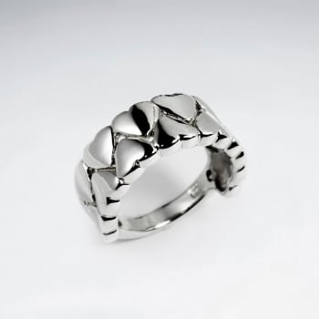 Sterling Silver Heart Lined Up In Double Rows Ring