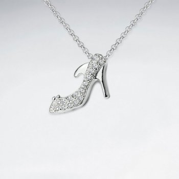 Sterling Silver High Heel Cubic Zirconia Stiletto Pendant