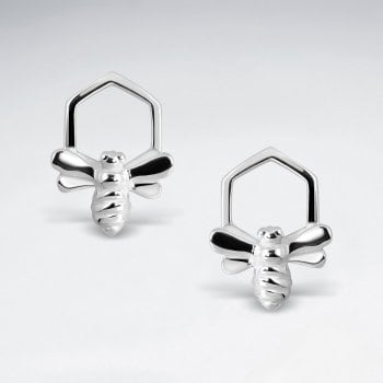 Sterling Silver Honeycomb Bee Earrings