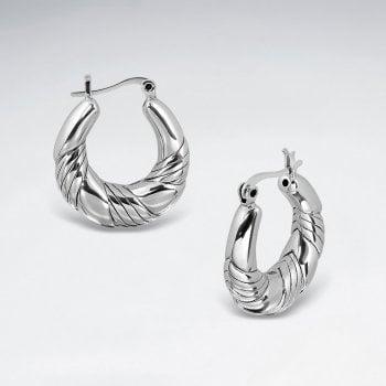 Sterling Silver Hoop Earrings in Chunky Twist Style