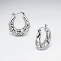 Sterling Silver Hoop Earrings in Chunky Twist Style