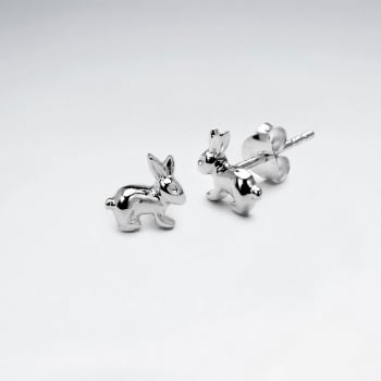 Sterling Silver Hopping Bunnies Stud Earrings