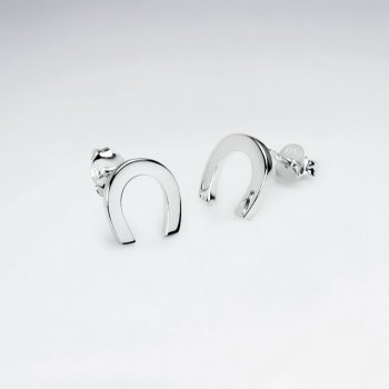 Sterling Silver Horseshoe Stud Earrings