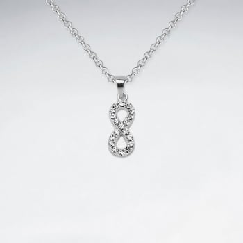 Sterling Silver Infinity With Crystal Pendant