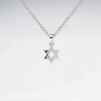 Sterling Silver Interlocked Star of David Necklace