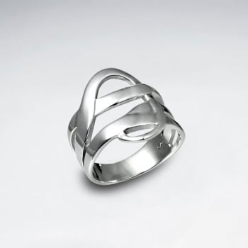 Sterling Silver Interwoven Lines Design Ring