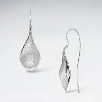 Sterling Silver Inverted Teardrop Petal Earrings