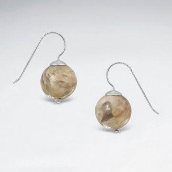 Sterling Silver Jasper Ball Drop Earrings