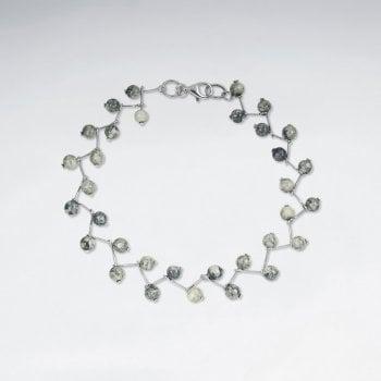 Sterling Silver Jasper Bead Bracelet