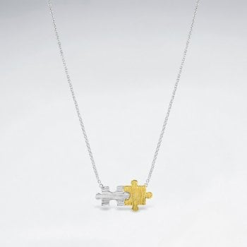 Sterling Silver Joined Puzzle Pieces Pendant