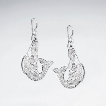 Sterling Silver Jumping Fish on a Hook Filigree Dangle Drop Earrings