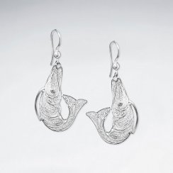 Sterling Silver Jumping Fish on a Hook Filigree Dangle Drop Earrings